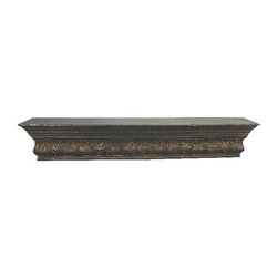 """Dark Antique Gold Iron Mantle Top with Leaf Accents - Dark Antique Gold Iron Mantle Top with Cut Tole Leaf Accents Hand constructed by master craftsmen of iron and tole Hand-finished in a multi-step process 49.5"""" wide/11"""" deep/10"""" tall   Key holes on the back for hanging"""