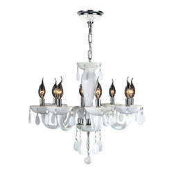 "Worldwide Lighting - Gatsby 8 Light Chrome Finish and White Blown Glass Chandelier 22"" x 19"" Medium - This stunning 8-light Chandelier only uses the best quality material and workmanship ensuring a beautiful heirloom quality piece. Featuring a radiant chrome finish and blown glass in glossy white finish, this elegant chandelier is a work of art in its quality and beauty. Worldwide Lighting Corporation is a privately owned manufacturer of high quality crystal chandeliers, pendants, surface mounts, sconces and custom decorative lighting products for the residential, hospitality and commercial building markets. Our high quality crystals meet all standards of perfection, possessing lead oxide of 30% that is above industry standards and can be seen in prestigious homes, hotels, restaurants, casinos, and churches across the country. Our mission is to enhance your lighting needs with exceptional quality fixtures at a reasonable price."
