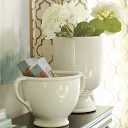 Ballard Designs - Whitney Ceramic Vessels - Also blends with our pierced Geometric Hurricanes. White finish. Watertight. If you're drawn to handcrafted pottery, you'll love our Whitney Bowl and Urn. These expressive ceramic accents are handmade and finished to be watertight, so you can use them for serving or as vessels for flowers. Mix and match with our classic blue and white porcelain for an eclectic look. Whitney Ceramic Vessels features: . . .