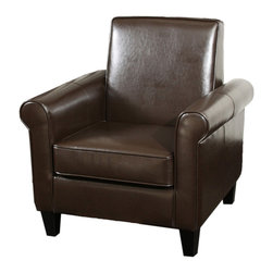 Great Deal Furniture - Larkspur Modern Design Brown Leather Club Chair - This petite leather club chair creates great comfort and style without taking up a lot of room in your living room, office, or bedroom. Unique squared back design with rounded arms creates a classic look that compliments the rich brown leather.