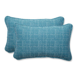 Pillow Perfect - Conran Blue and Off-White Rectangular Throw Pillow with Bella-Dura Fabric, Set o - - This set of rectangular throw pillows is covered in Bella-Dura fabric, which delivers the perfect union of worry-free performance, style, and a luxurious hand. One hundred percent solution-dyed, these Bella-Dura pillows are UV-resistant to retain color, inherently stain resistant, anti-microbial and mildew resistant, so you can enjoy them where you live, work, and play, indoors and out. Filled with a plush 100-percent polyester fiber filling, these pillows are as comfy as they are chic.  - Pillow Care and Cleaning: Most spills blot up with a cloth, but for tougher spills, a mild household cleaner or detergent and water will do the trick. Rinse thoroughly, blot with a soft cloth, and allow to air dry. When the pillows are not in use, it is best to store them covered in a dry place. Gently wipe dirt and debris off the surface of the pillows before it can become embedded in the fabric  - Pillows with outdoor 100-percent polyolefin Bella-Dura fabric - colors stay strong and vibrant  - Worry Free - resists water, mildew, stains, chlorine and fading; Suitable for indoor or outdoor use  - Set includes two pillows filled with a plush 100-percent polyester fiber  - Easy to clean - use mild soap and water, rinse, and air dry. Bleach cleanable for mildew or tougher stains  - 5-Year Fabric Limited Warranty - withstands years of normal exposure to sun and rain  - Secondary Colors: Turquoise Pillow Perfect - 547626