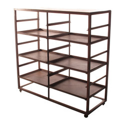 Kathy Kuo Home - Buttermere Industrial Loft 2 Tier Baker's Rack Display Bookcase - The only problem you'll ever have with this iron-framed baker's rack is deciding how to use it. A rustic vibe and two-tiered design make it a handsome industrial piece for your urban loft. And with six removable trays or shelves that you can configure any way you choose, it's a functional and fashionable option for the kitchen, home office, dining room or study.