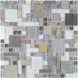 "Euro Glass - Sag Harbor Gray  Unique Shapes Grey Backsplash Glossy & Frosted Glass and Slate - Sheet size:  12"" x 12""        Tile Size:  Unique Shapes        Tiles per sheet:  170        Tile thickness:  1/4""        Grout Joints:  1/8""        Sheet Mount:  Mesh Backed        Stone colors may vary    Sold by the sheet     -"