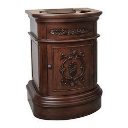 """Hardware Resources - Elements Emilia Vanity in Painted Merlot (VAN031-NT) - This 25 3/4"""" wide MDF vanity has timeless appeal with carved floral details elegant curves and rich merlot finish. The compact size makes this vanity a perfect pedestal sink replacement. A large cabinet provides ample storage."""