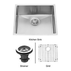 Vigo - 23in.  Undermount Stainless Steel Kitchen Sink, Grid and Strainer - The VIGO undermount kitchen sink, matching grid and strainer complement any decor and are highly functional. Every design detail is featured in this sink to meet your needs.