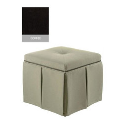 Home Decorators Collection - Custom Skirted Ottoman - Impeccably designed, yet compact enough to fit in tight spaces, this skirted ottoman adds a splash of flair to bedrooms and living spaces. The eight-paneled skirt is accented with eye-catching, individually applied nails. Pine, poplar and poly foam construction. Assembled to order in the USA and delivered in approximately 8-10 weeks.