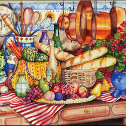 The Tile Mural Store (USA) - Tile Mural - French Kitchen  - Kitchen Backsplash Ideas - This beautiful artwork by Kathleen Parr McKenna has been digitally reproduced for tiles and depicts a table stocked with vegetables and bread.  Our kitchen tile murals are perfect to use as part of your kitchen backsplash tile project. Add interest to your kitchen backsplash wall with a decorative tile mural. If you are remodeling your kitchen or building a new home, install a tile mural above your stove top or install a tile mural above your sink. Adding a decorative tile mural to your backsplash is a wonderful idea and will liven up the space behind your cooktop or sink.