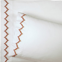 Jonathan Adler Pink Flame Sheet Set - I love the fun edging detail on these 400-thread count sheets from Jonathan Adler. They are the perfect complement to the Pink Flame duvet cover.