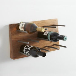 Red Mountain 12-Bottle Wine Rack - Our exclusive wall-hanging wine rack affixes metal rods to angled acacia wood in a clean design that puts a clean focus on its function, holding up to a dozen wine bottles. Simply rest bottles between rods. Hang in multiples to showcase your complete wine cellar.
