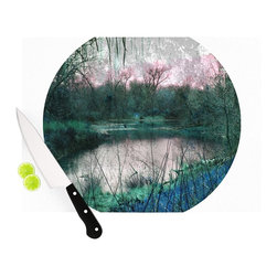 """Kess InHouse - Micah Sager """"Swamp"""" Lake Circle Cutting Board (11.5"""" x 15.75"""") - These sturdy tempered glass cutting boards will make everything you chop look like a Dutch painting. Perfect the art of cooking with your KESS InHouse unique art cutting board. Go for patterns or painted, either way this non-skid, dishwasher safe cutting board is perfect for preparing any artistic dinner or serving. Cut, chop, serve or frame, all of these unique cutting boards are gorgeous."""