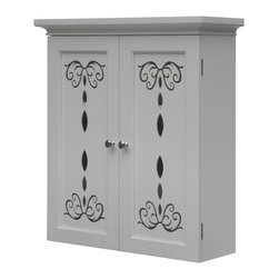 Elegant Home Fashions - Dallia Wall Cabinet with 2 Doors - The Dallia Wall Cabinet from Elegant Home Fashions features a white finish and offers sleek lines for a modern look.   This cabinet features two doors accented with beautiful cut-out floral design and beveled molding. This unit offers plenty of storage space two adjustable interior shelves makes it easy to store items of different heights.  Satin nickel door knobs showcase the modern design.  This cabinet comes with assembly hardware.