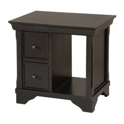Stein World Orleans End Table - With its asymmetrical design and ample storage, the Stein World Orleans End Table is the handsome chair side companion. This end table features two drawers with wood and brushed nickel knobs and an open cubby space perfect for a large display piece. This end table is crafted of Asian hardwoods and poplar veneers with a lightly distressed black finish.About Stein WorldStein World is dedicated to discovering and bringing to the market place the finest hand-painted products from around the world. With over 50 years of experience, they have been able to develop not only the resources but true partnerships with quality manufacturers and artisans who make Stein World unique in the furniture industry today. Their commitment to you is to present only the highest quality furniture at prices that bring future family heirlooms into everyone's price range.
