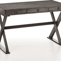 "Arteriors - Arteriors Cain Gray Limed Oak Desk - A versatile piece complementing modern and transitional design, the Cain desk by Arteriors combines a simple table top with a stylish X-base. The grey limed wash finish warms the industrial chic look of this oak desk. 47.5""W x 23.5""D x 29.5""H; Wood; Grey limed oak finish; One drawer"