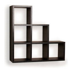 Danya B. - Stepped Six Cubby Decorative Black Wall Shelf - Step up your home decor game with this slick six-cubby shelf. With clean lines and balanced proportions, it's a minimalist's storage dream come true. Stash small accessories or collectibles in each cubby to create an effect that will complement your modern style, or use it in the office to stay organized.