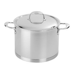 Demeyere - Demeyere Atlantis 7-Ply Stockpot with lid - 8.5 qt. - 41394 - Shop for Stock Pots & Slow Cookers from Hayneedle.com! Soups stews and family-sized meals taste better when prepared in the Demeyere Proline Atlantis Stockpot with Lid - 8.5 qt. This generously sized stockpot was engineered to help in the kitchen and features a classic straight-sided design dual stay-cool welded helper handles and tight-fitting lid to lock moisture in. This stockpot was crafted of 4.8mm-thick Demeyere 7-ply stainless steel to quickly and evenly conduct heat. It is oven-safe to 600 degrees works on all cooktops including induction and is even dishwasher-safe. Taste kitchen success!About Demeyere CookwareFounded in 1908 Demeyere is a family-owned company based in Belgium. The brand has earned a devoted following for its high-quality stainless steel cookware which features the latest culinary innovations. Used by professional chefs and home cooks worldwide Demeyere cookware combines performance durability sleek design and technological innovation. In the late 1960s the company pioneered the use of layered aluminum construction for exceptional heat conduction. Other innovations include InductoSeal 7-PlyMaterial and TriplInduc technologies. The InductoSeal base features seven different alloys including a copper disk for maximum heat distribution. Demeyere's patented 7-PlyMaterial consists of a thick aluminum-alloy core sandwiched between a layer of pure aluminum on either side for even heat distribution. TriplInduc combines three metal alloys to make the cookware suitable for all types of cooking methods including induction. Pans and pots feature ergonomic welded handles rims designed for dripless pouring and durable stick-resistant finishes. They're suitable for use on any cooktop and are dishwasher-safe for easy cleanup.