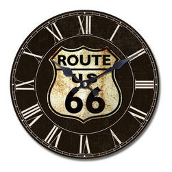 YOSEMITE HOME DECOR - 13.5 in. Circular Wooden Wall Clock with route 66 print - You'll get your kicks when you hang this Route 66 wooden wall clock in your den or game room. Car buffs and road trippers alike will appreciate the nod to this classic highway.