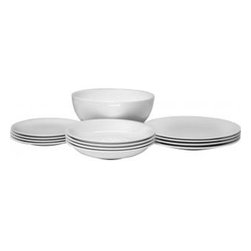"Alessi - Alessi ""All-Time"" Table Set - Keep it classic at your table with this 13-piece bone china tableware set. Designed by Guido Venturini, the simple flowing shapes make your everyday meals a pleasure."