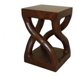 ecWorld - Urban Designs Hand-Carved Indonesian Trembesi Wood Stool - Hand-carved by expert artisans and imported, this stool will add a contemporary flair to your room. Strong built and design made to stand up to the elements for years.