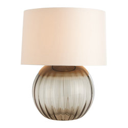 Arteriors - Orville Lamp - Show off your room in the best light. This table lamp has a timeless, spherical base made of smoky ribbed glass. Topped with a parchment drum shade, it is just the right thing to add sparkle and shine to any room in your home.
