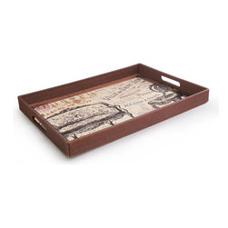 Jay Import Co. - Notions Vintage Tray - Transport your guests to Old Paris with this vintage tray! Whether you are serving bonbons or beverages, everyone will be enchanted with the whimsy and wonder of this stylish serving tray.