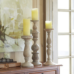 "Ballard Designs - Baluster Candle Holder - Use singly or in multiples. Felt bottoms protect surfaces. Based on old wooden balusters we found in Italy, our faithful replicas feature exquisite turnings and an authentic white wash finish to capture the look of antiques. Each fits a 4"" pillar. Artisan crafted from mango wood. Baluster Candle Holders features: . ."