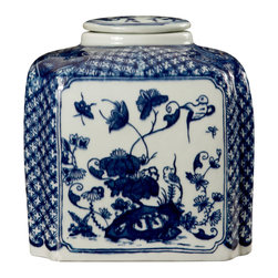"Bungalow 5 - Bungalow 5 Palace Covered Jar - Bungalow 5's dramatic Palace Temple covered jar delivers striking interior style. This sleek blue and white porcelain accessory exudes iconic chinoiserie design. 7.5""W x 8""H; Blue and white hand-painted porcelain"