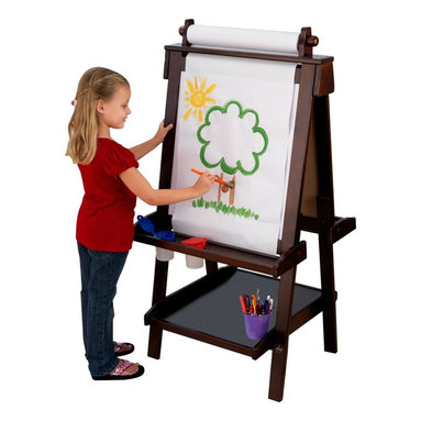 KidKraft - Deluxe Wood Easel - Espresso by Kidkraft - Creativity, functionality and style come together in KidKraft's Deluxe Wood Easel. With classic lines that will enhance any room or play setting, KidKraft's Deluxe Wood Easel will bring out your child's inner-artist.
