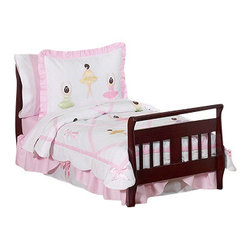 Sweet Jojo Designs - Ballerina 5-Piece Toddler Bedding Set - Pirouette to dreamland with this picture-perfect toddler bedding. Beautiful applique ballerinas and pointe shoes grace the bedspread's pink and white harlequin pattern. The comfy cotton fabric is adorned with ruffles and satin so your little dancer can twirl and leap her way to a sweet night's sleep.