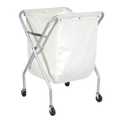 Ex-Cell - The Laundry Caddy Waste Collector X-Frame Cart - Make laundry pickup an orderly experience with this portable laundry caddy, perfect for pool area towels, hospital gowns and scrubs and much, much more. On casters for easy mobility, the cart has a poly cotton drawstring bag and a durable tubular steel frame that folds for easy storage. X-Frame construction of sturdy 1 in. steel with a Chrome finish. Cart maneuvers easily on 4 non-marring 3 in. double ball-bearing casters. Comes with one 6-bushel Natural Poly-Cotton (W) bag with convenient snap closures. 30% Recycled steel used in manufacture and 100% post-consumer recyclable. Made in USA. 24.5 in. L x 21.25 in. W x 35 in. HThe Laundry Caddy™ Waste Collector X-Frame Cart with Natural cotton bag. Used in hospitals, institutions, office buildings, restaurants, hotels, motels and factories.