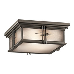 KICHLER - KICHLER 49164OZ Portman Square Arts and Crafts/Mission Outdoor Flush Mount Ceili - The Arts and Crafts inspired Portman Square collection, in Olde Bronze over solid brass or Stainless Steel, incorporates elongated rectangle-shaped Etched Seedy glass highlighted by vertical metal banding. Contrasting rod crossbars make an elegant, yet simple statement. UL listed for damp locations and 90° C Wire Rated.