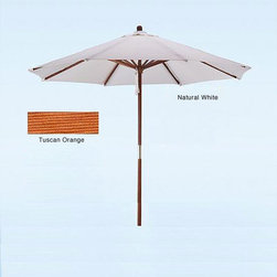None - Hard Wood White/ Tuscan Orange Patio Umbrella - Pick between the Tuscan orange and natural white color options of this stylish patio umbrella and instantly uplift the decor of your patio. Also,the tough hardwood pole and sturdy ribs will you ensure you get a long service life from this umbrella.