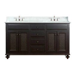 "Water Creation Inc. - London Collection 60"" Wide Single Sink Vanity - The Water Creation London Collection 60"" double sink bathroom vanity is perfect for the bathroom project that demands a striking focal point. This Espresso finished vanity features 4 doors, 4 drawers and a Carrara White Marble counter top with backsplash. The counter top is pre-drilled for 8"" wide spread lavatory faucets."