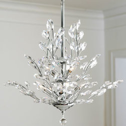 "Horchow - Silver-Leaf Upside-Down Chandelier - Glittering crystals flow upwards on this charming chandelier. Imported. Made of silver-leaf-finished metal and lead-free crystal. Uses nine 40-watt bulbs. Ceiling canopy included. Professional installation recommended. 26""Dia. x 28""T."