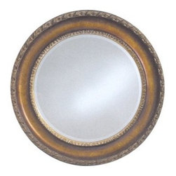English Gold Aura Vanity Mirror - 33 diam. in. - Designed the old-fashioned way. The English Gold Aura creates a classic look with a subtle English gold finish. This mirror would be a great accent mirror in a living room bedroom or whichever room you choose.