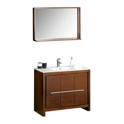 """Fresca - Fresca Allier 40"""" Modern Bathroom Vanity - Wenge - The Fresca 40"""" Allier is a sleek, modern free standing vanity with plenty of storage space. This model is accented nicely with a matching mirror with small shelf."""