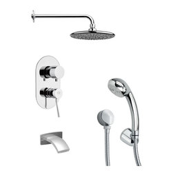Remer - Polished Chrome Sleek Tub and Shower Faucet with Hand Shower - Single function tub and shower faucet.