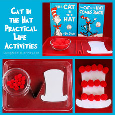 Montessori Monday - Cat in the Hat Practical Life Activities | LivingMontessoriN