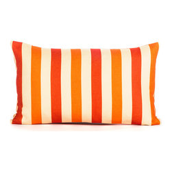 "LaCozi - ""Lance"" Orange and Coral Throw Pillow - Make a statement on your sofa with the juiciest stripes going. This bold-patterned pillow is quality crafted with double-stitched seams to really go the distance in your decor."