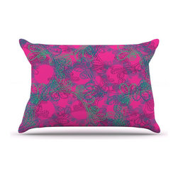 """Kess InHouse - Patternmuse """"Jaipur Hot Pink"""" Pink Teal Pillow Case, King (36"""" x 20"""") - This pillowcase, is just as bunny soft as the Kess InHouse duvet. It's made of microfiber velvety fleece. This machine washable fleece pillow case is the perfect accent to any duvet. Be your Bed's Curator."""