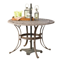 "Home Styles - Home Styles Round Outdoor Dining Table in Rust Brown Finish-42"" Diameter - Home Styles - Patio Dining Tables - 555530 - The Home Styles Round Outdoor Dining Table is constructed of solid cast aluminum with a hand antiqued powder coat rust brown finish. Available in 42"""" or 48"""" diameter this outdoor dining table features a rounded top with an attractive pattern and an opening at the center to accommodate an umbrella (not included). Add traditional charm to your patio with the Home Styles Round Outdoor Dining Table.Features:"