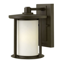 "Hinkley - Arts and Crafts - Mission Hinkley Hudson 9 3/4"" High Bronze Outdoor Wall Light - The Hudson Collection of outdoor lighting is inspired by transitional styles with a subtle Arts & Crafts aesthetic. The clean minimal solid aluminum metal work has a modern feel while the shallow roof lines and cast vertical posts add a refined craftsman touch. From Hinkley Lighting. Small outdoor wall light from the Hudson Collection. Oil-rubbed bronze finish. Etched opal glass. Aluminum construction. Maximum 100 watt or equivalent bulb. 9 3/4"" high. 7"" wide. Backplate is 8 1/4"" high 4 1/2"" wide. UL listed for damp locations.  Small outdoor wall light from the Hudson Collection.  Oil-rubbed bronze finish.  Etched opal glass.  Aluminum construction.  Maximum 100 watt or equivalent bulb.  9 3/4"" high.  7"" wide.  Backplate is 8 1/4"" high 4 1/2"" wide.  UL listed for damp locations."