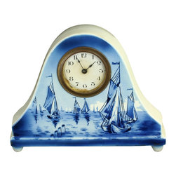 EuroLux Home - Consigned Vintage Dutch Blue Delft Mantle Mantel Clock - Product Details
