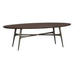 Bel-Air Oval Coffee Table - Mid-century modern lines in a modern mix of materials. Cast aluminum tripod base is seamlessly welded and finished in antiqued brass plating; richly grained shesham wood top is finished a warm walnut.
