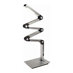 ET2 Lighting - ET2 Lighting E41033-SA Satin Aluminum Eco-Task 1 Light 37 Inch LED Swing Arm Tab - Flexible and bendable, the Eco-Task is a state of the art LED table lamp that will provide ample task oriented 6 watt eco friendly light anywhere it is needed.