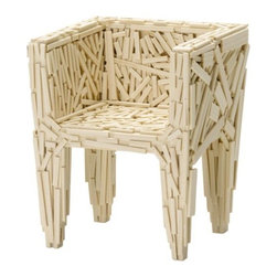 """Vitra - Miniature Favela by Vitra - Inspired by """"the chaos and beauty"""" of their hometown of Sao Paulo, Brazil, brothers Fernando and Humerto Campana developed a design aesthetic based on found objects combined with experimental forms. One of their first designs was the Favela Chair (1991), an armchair made out of scrap wood from a Sao Paulo slum. The Vita Miniature Favela is handmade out of scrap wood as well (very small pieces). Founded in Switzerland in 1950, Vitra produces intelligent and inspiring furniture and accessories for the home, office and other public spaces. Ever mindful of the importance of sustainability in design, Vitra creates furnishings with high quality and versatile style that ensures functional and aesthetic enjoyment for the long term."""
