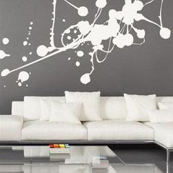 WALLTAT - Liquid Abstract Wall Decal, As-Is - Liquid Abstract Wall Decals brings the world of abstract art onto your walls, paint free!  This fine art design has the appearance of spilled paint that is sure to leave your guests in awe of your unique style.  This design is great for living rooms, bedrooms, offices, or any room!  Available on Houzz in Size C in color Black in As-Is Orientation (thicker on right) or Reverse Orientation (thicker on left)..  Convert your walls into interesting landscapes in just minutes with WALLTAT Wall Decals.  Made in the USA.