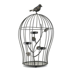 Gifts Galore And More - Birdcage Triple Candleholder - There's no better way to capture the charm of candlelight than with this darling Birdcage Triple Candleholder!  Three glass candle cups  are set in metal branches sprouting from the base of the birdcage, creating a striking visual while a beautiful bird sits perched on top of the cage.  Add the candles of your choice.  Candles not included.