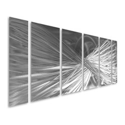Pure Art - Twisted Terpidity Abstract Six-Piece Aluminum Wall Artwork - Lavish and lingering! Create a look in your home that makes a lasting impression on all who enter with the Twisted Terpidity Abstract Six-Piece Aluminum Wall Artwork. This sensational set of metal wall art pieces have been hand painted using various shades of silver to form flowing lines that curve and twist. Aluminum wall hanging set of panels is ideal for those huge walls that need a bit of symmetry. Each piece of this set has been individually hand crafted using only the best of materials by skilled and talented craftsman. Each piece is unique and individual. Pieces have been finished with a clear coat for added durability and protectionMade with top grade aluminum material and handcrafted with the use of special colors, it is a very appealing piece that sticks out with its genuine glow. Easy to hang and clean.