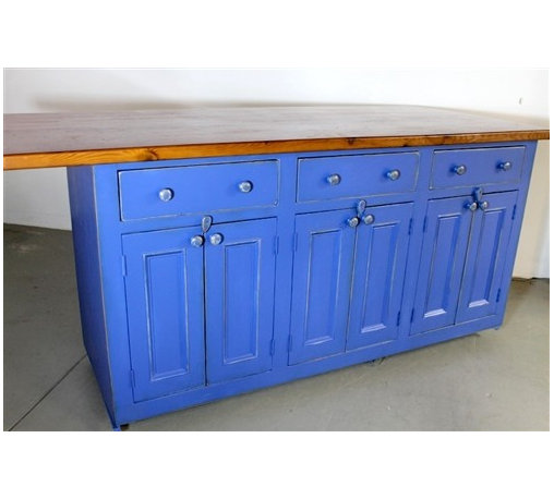 Custom Blue Kitchen Island From Salvaged Barn Board - Made by http://www.ecustomfinishes.com