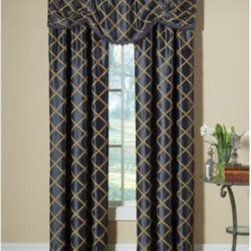 Designers' Select - Designers' Select Francesca Rod Pocket Window Curtain Panel - Crafted with detail, the Francesca window curtain panels feature an elegant diamond applique on a luxurious faux silk background.